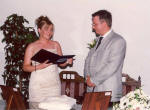 Caroline and Stephen taking their vows in Limassol, Cyprus