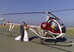 A helicopter ride for your wedding in Cyprus - these guys loved every minute of it.