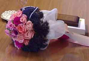 A pink rose bridal posy by Jayne at Cyprus-wedding.com